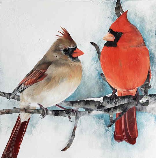 Cours de peinture couple de cardinaux