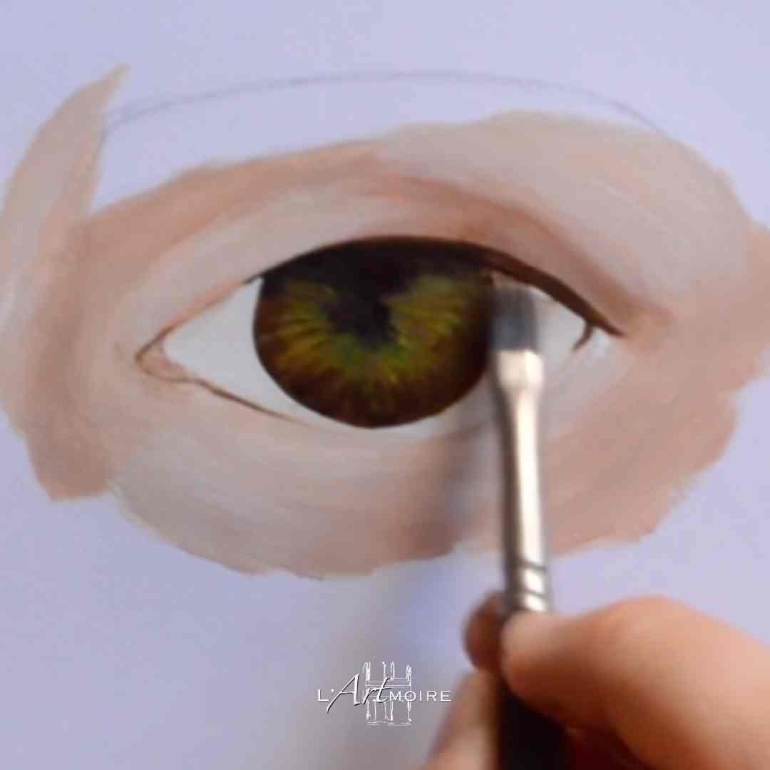 Peindre un oeil en peinture acrylique