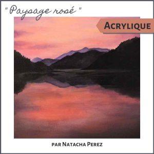 Paysage rosé - cours de peinture acrylique