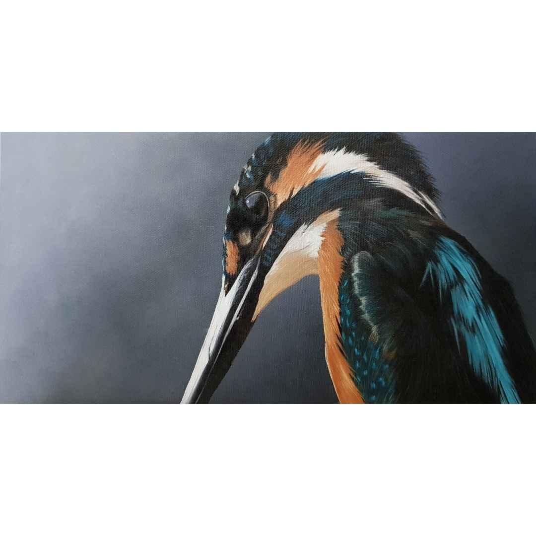 Cours de peinture en ligne Martin-Pêcheur en peinture à l'huile soluble à l'eau
