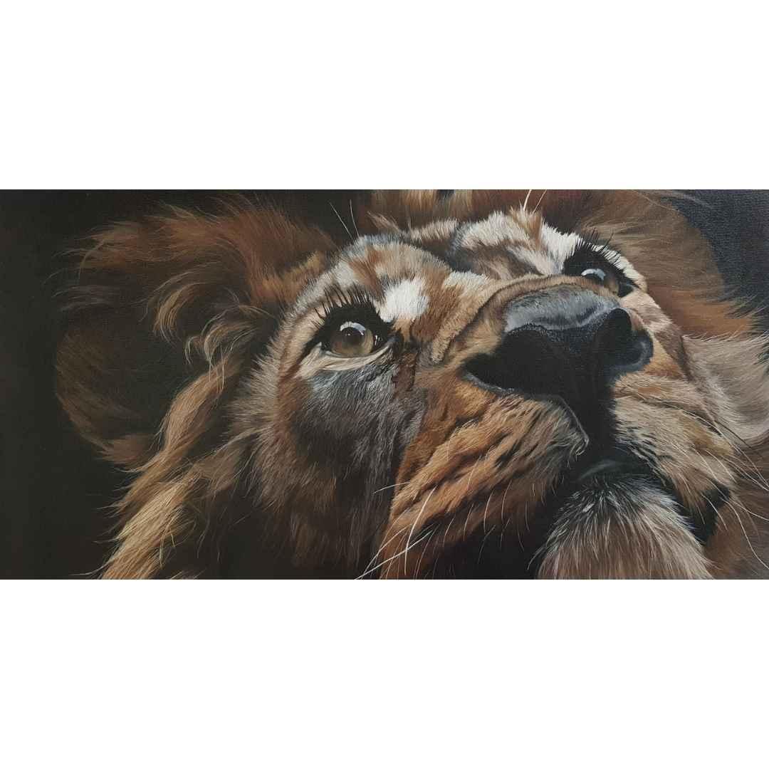 Lion - cours de peinture à l'huile soluble dans l'eau